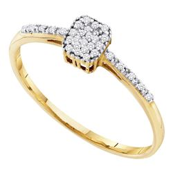 0.07 CTW Diamond Small Slender Cluster Ring 10KT Yellow Gold - REF-7M4H
