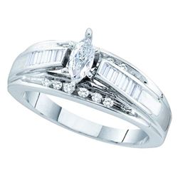 0.50 CTW Marquise Diamond Solitaire Bridal Engagement Ring 14KT White Gold - REF-82H4M