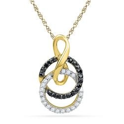 0.20 CTW Black Color Diamond Double Circle Pendant 10KT Yellow Gold - REF-14N9F