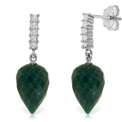 Genuine 25.95 ctw Green Sapphire Corundum & Diamond Earrings Jewelry 14KT White Gold - REF-51Z2N