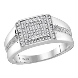 0.25 CTW Mens Diamond Square Cluster Ring 10KT White Gold - REF-33N8F