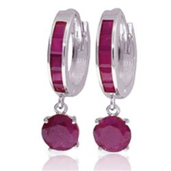 Genuine 3.3 ctw Ruby Earrings Jewelry 14KT White Gold - REF-59H2X
