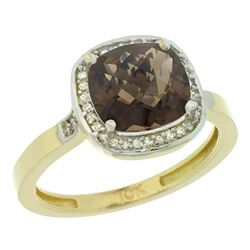 Natural 3.94 ctw Smoky-topaz & Diamond Engagement Ring 14K Yellow Gold - REF-38K3R