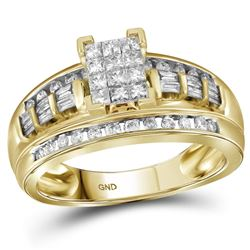 0.49 CTW Princess Diamond Cluster Bridal Engagement Ring 10KT Yellow Gold - REF-40N4F