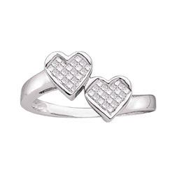 0.25 CTW Princess Diamond Double Heart Love Ring 14KT White Gold - REF-41H9M