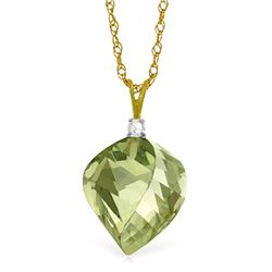 Genuine 13.05 ctw Green Amethyst & Diamond Necklace Jewelry 14KT Yellow Gold - REF-31Y6F