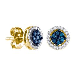 0.25 CTW Blue Color Diamond Cluster Stud Screwback Earrings 10KT Yellow Gold - REF-18K7W