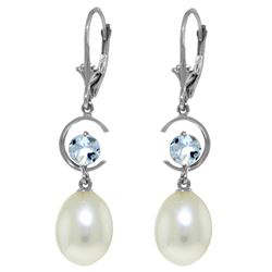 Genuine 9 ctw Pearl & Aquamarine Earrings Jewelry 14KT White Gold - REF-39H2X