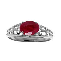 Genuine 1.15 ctw Ruby Ring Jewelry 14KT White Gold - REF-35F9Z