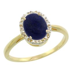 Natural 1.05 ctw Lapis & Diamond Engagement Ring 14K Yellow Gold - REF-25Z6Y