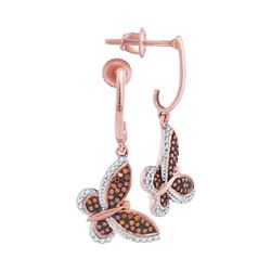 0.25 CTW Red Color Diamond Butterfly Bug Dangle Earrings 10KT Rose Gold - REF-32X9Y