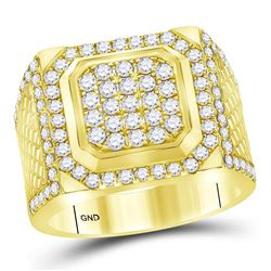 2 CTW Mens Diamond Square Cluster Ring 14KT Yellow Gold - REF-209W9K