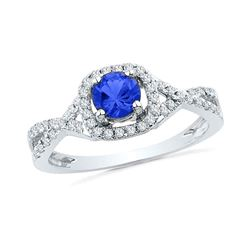 0.20 CTW Created Blue Sapphire Solitaire Diamond Ring 10KT White Gold - REF-20H9M