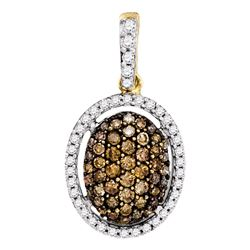 0.51 CTW Brown Color Diamond Oval Pendant 10KT Yellow Gold - REF-22X4Y