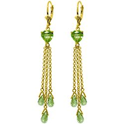 Genuine 9.5 ctw Peridot Earrings Jewelry 14KT Yellow Gold - REF-62W2Y