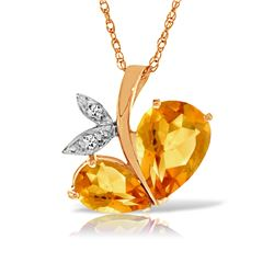 Genuine 4.06 ctw Citrine & Diamond Necklace Jewelry 14KT Rose Gold - REF-59X2M