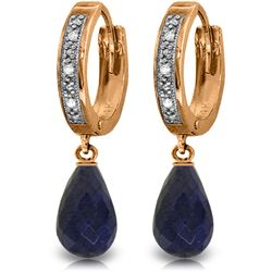 Genuine 6.64 ctw Sapphire & Diamond Earrings Jewelry 14KT Rose Gold - REF-50M2T