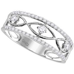 0.33 CTW Diamond Ring 10KT White Gold - REF-30N2F