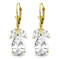 Genuine 13 ctw White Topaz Earrings Jewelry 14KT Yellow Gold - REF-61T2A