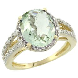 Natural 3.47 ctw Green-amethyst & Diamond Engagement Ring 10K Yellow Gold - REF-34X7A