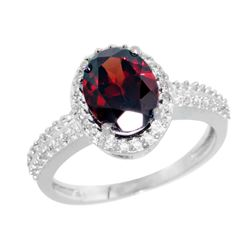 Natural 1.91 ctw Garnet & Diamond Engagement Ring 14K White Gold - REF-41V7F
