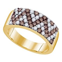 1.05 CTW Cognac-brown Color Diamond Chevron Ring 10KT Yellow Gold - REF-64M4H