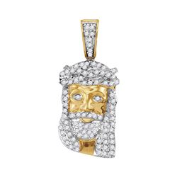 0.35 CTW Mens Diamond Small Jesus Head Charm Pendant 10KT Yellow Gold - REF-18H7M