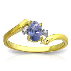 Genuine 0.46 ctw Tanzanite & Diamond Ring Jewelry 14KT Yellow Gold - REF-31R9P