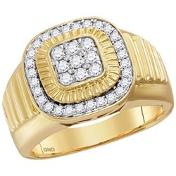 0.75 CTW Mens Diamond Square Cluster Ribbed Ring 10KT Yellow Gold - REF-75X2Y
