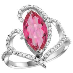 Natural 3.33 ctw Pink-topaz & Diamond Engagement Ring 14K White Gold - REF-77G5M