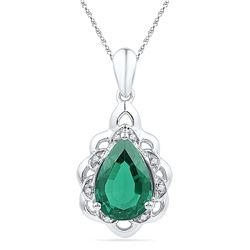 3.41 CTW Pear Created Emerald Solitaire Diamond Pendant 10KT White Gold - REF-22W4K
