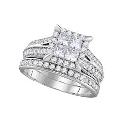 1.5 CTW Princess Diamond Square Halo Bridal Engagement Ring 14KT White Gold - REF-191K9W