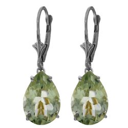 Genuine 10 ctw Green Amethyst Earrings Jewelry 14KT White Gold - REF-45N3R
