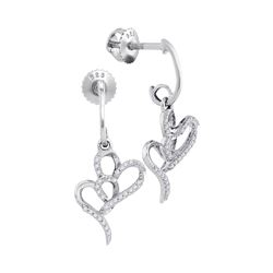 0.15 CTW Diamond Double Heart Dangle Earrings 10KT White Gold - REF-18M2H