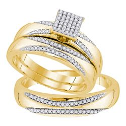 0.25 CTW His & Hers Diamond Matching Bridal Ring 10KT Yellow Gold - REF-52N4F