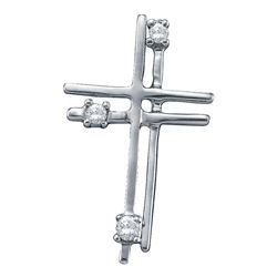 0.04 CTW Diamond Layered Cross Pendant 14KT White Gold - REF-8H9M