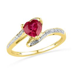 1.01 CTW Heart Created Ruby Solitaire Diamond Bypass Ring 10KT Yellow Gold - REF-12X2Y