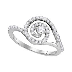 0.50 CTW Diamond Solitaire Swirl Bridal Engagement Ring 10KT White Gold - REF-47F9N