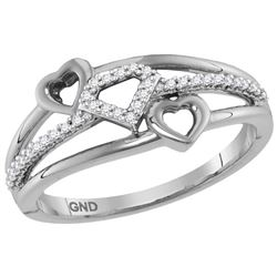 0.10 CTW Diamond Double Heart Ring 10KT White Gold - REF-14K9W