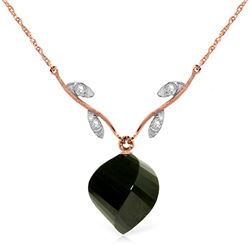 Genuine 15.52 ctw Black Spinel & Diamond Necklace Jewelry 14KT Rose Gold - REF-36R9P