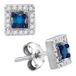 0.21 CTW Blue Color Diamond Square Solitaire Stud Earrings 10KT White Gold - REF-18F2N