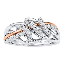 0.25 CTW Diamond Coil Ring 10KT Two-tone Gold - REF-26N9F