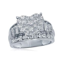 1.96 CTW Diamond Heart Bridal Engagement Ring 10KT White Gold - REF-127X4Y