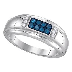 0.33 CTW Mens Blue Color Diamond Ring 10KT White Gold - REF-30X2Y