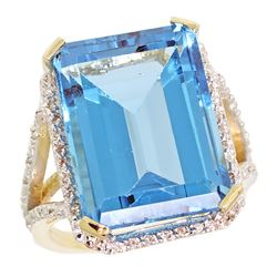 Natural 13.72 ctw Swiss-blue-topaz & Diamond Engagement Ring 14K Yellow Gold - REF-81W3K