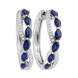 2.67 CTW Oval Natural Blue Sapphire Diamond Woven Hoop Earrings 14KT White Gold - REF-179F9N