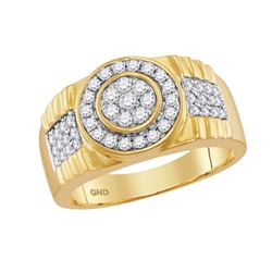 0.85 CTW Mens Diamond Concentricle Circle Flower Cluster Ring 10KT Yellow Gold - REF-75X2Y
