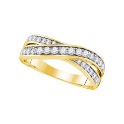 0.50 CTW Diamond Crossover Ring 14KT Yellow Gold - REF-57M2H