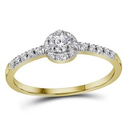 0.26 CTW Diamond Solitaire Bridal Engagement Ring 10KT Yellow Gold - REF-19N4F