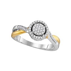 0.20 CTW Diamond Circle Cluster Bridal Wedding Engagement Ring 10KT Two-tone Gold - REF-22F4N